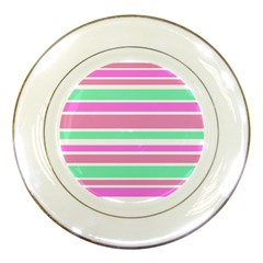 Pink Green Stripes Porcelain Plates