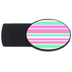 Pink Green Stripes USB Flash Drive Oval (4 GB)