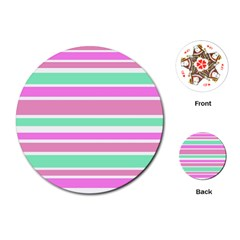 Pink Green Stripes Playing Cards (round)  by BrightVibesDesign
