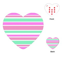 Pink Green Stripes Playing Cards (heart)  by BrightVibesDesign