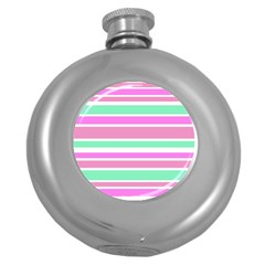 Pink Green Stripes Round Hip Flask (5 oz)