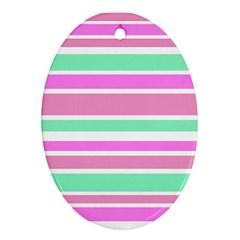 Pink Green Stripes Oval Ornament (Two Sides)