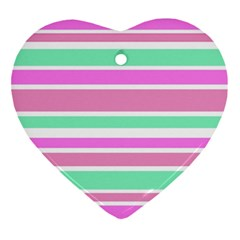 Pink Green Stripes Heart Ornament (2 Sides)