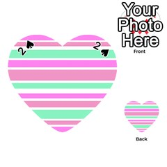 Pink Green Stripes Playing Cards 54 (heart)  by BrightVibesDesign