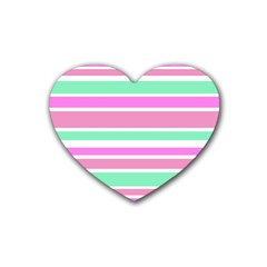 Pink Green Stripes Rubber Coaster (Heart)