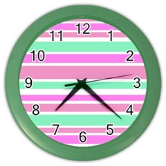 Pink Green Stripes Color Wall Clocks