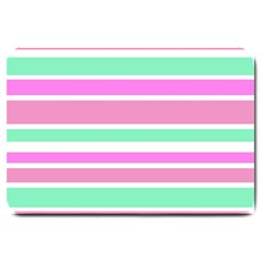 Pink Green Stripes Large Doormat