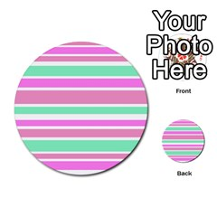 Pink Green Stripes Multi-purpose Cards (Round)