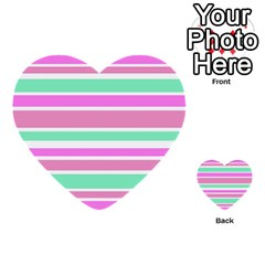 Pink Green Stripes Multi Purpose Cards (heart)  by BrightVibesDesign