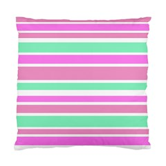 Pink Green Stripes Standard Cushion Case (one Side) by BrightVibesDesign