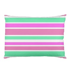 Pink Green Stripes Pillow Case by BrightVibesDesign