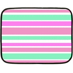 Pink Green Stripes Double Sided Fleece Blanket (mini)  by BrightVibesDesign