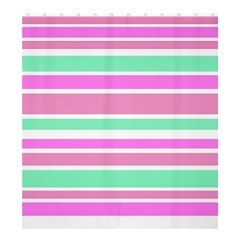 Pink Green Stripes Shower Curtain 66  x 72  (Large)