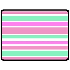 Pink Green Stripes Fleece Blanket (Large)
