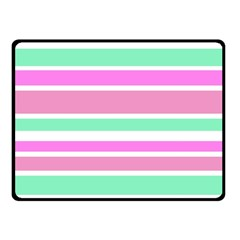 Pink Green Stripes Fleece Blanket (Small)