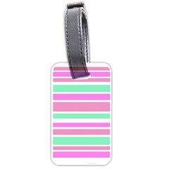 Pink Green Stripes Luggage Tags (One Side)