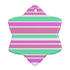 Pink Green Stripes Ornament (Snowflake)  by BrightVibesDesign