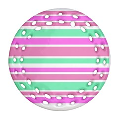 Pink Green Stripes Round Filigree Ornament (2Side)