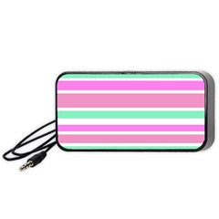 Pink Green Stripes Portable Speaker (Black)