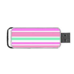 Pink Green Stripes Portable Usb Flash (two Sides) by BrightVibesDesign