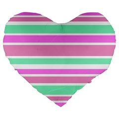 Pink Green Stripes Large 19  Premium Heart Shape Cushions
