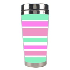 Pink Green Stripes Stainless Steel Travel Tumblers