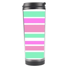 Pink Green Stripes Travel Tumbler