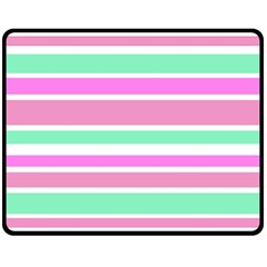 Pink Green Stripes Double Sided Fleece Blanket (Medium)