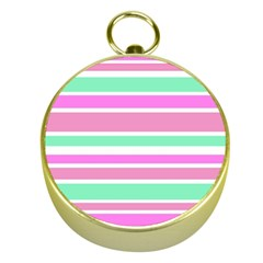 Pink Green Stripes Gold Compasses