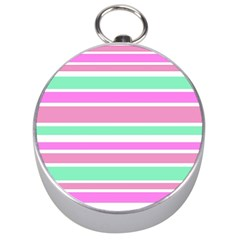 Pink Green Stripes Silver Compasses