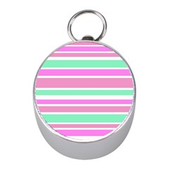 Pink Green Stripes Mini Silver Compasses