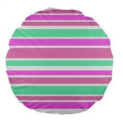Pink Green Stripes Large 18  Premium Flano Round Cushions
