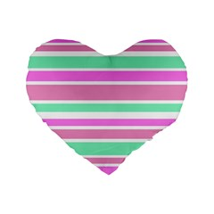 Pink Green Stripes Standard 16  Premium Flano Heart Shape Cushions