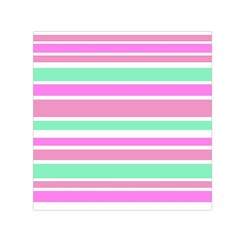Pink Green Stripes Small Satin Scarf (Square)