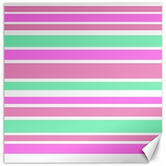 Pink Green Stripes Canvas 12  x 12