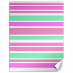 Pink Green Stripes Canvas 12  x 16
