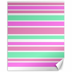 Pink Green Stripes Canvas 16  x 20