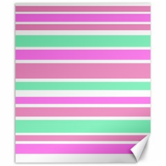 Pink Green Stripes Canvas 20  x 24