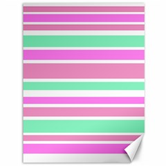 Pink Green Stripes Canvas 36  x 48