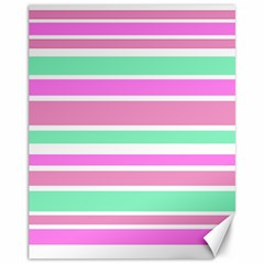 Pink Green Stripes Canvas 11  x 14