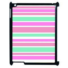Pink Green Stripes Apple iPad 2 Case (Black)