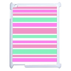 Pink Green Stripes Apple iPad 2 Case (White)