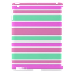 Pink Green Stripes Apple iPad 3/4 Hardshell Case (Compatible with Smart Cover)