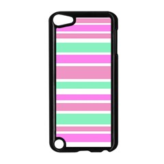 Pink Green Stripes Apple iPod Touch 5 Case (Black)