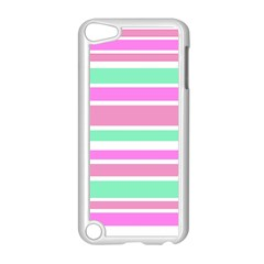 Pink Green Stripes Apple iPod Touch 5 Case (White)