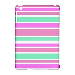 Pink Green Stripes Apple iPad Mini Hardshell Case (Compatible with Smart Cover)