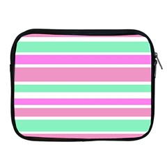 Pink Green Stripes Apple iPad 2/3/4 Zipper Cases