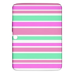 Pink Green Stripes Samsung Galaxy Tab 3 (10.1 ) P5200 Hardshell Case  by BrightVibesDesign