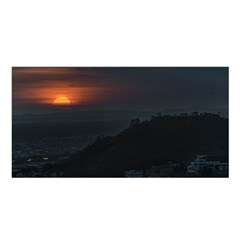 Sunset Scene Landscape Aerial View In Guayaquil From Cerro Del Carmen Satin Shawl by dflcprints