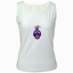 Funny Fruit Face Head Character Women s White Tank Top by dflcprints